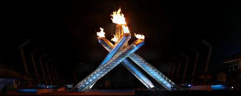 Olympic Cauldron at Night